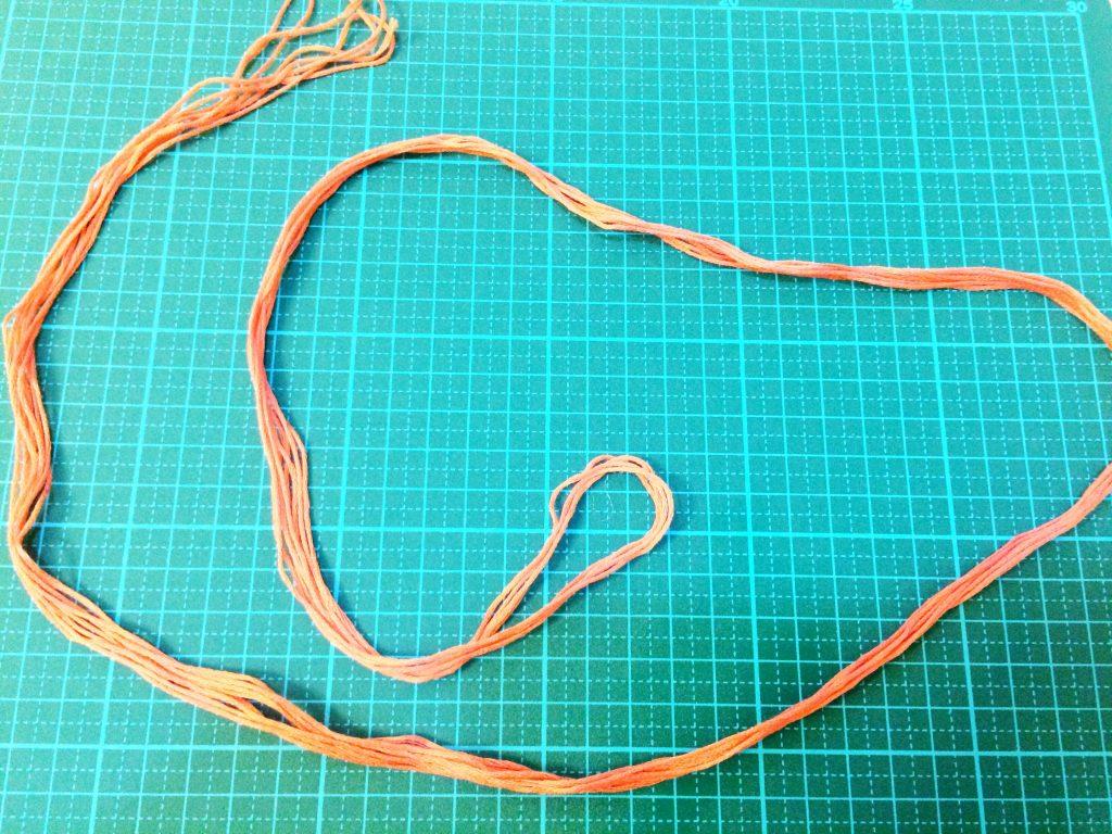 刺繍糸の抜き方8等分できた