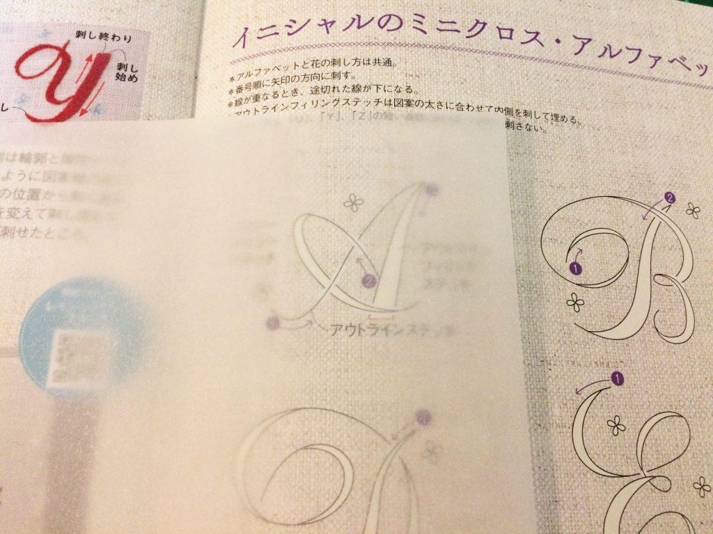 英語の文字の刺繍図案を写し終わったところ