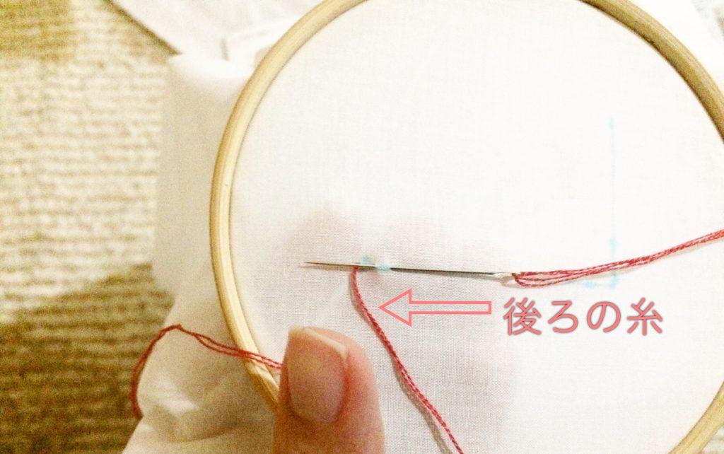 アウトラインステッチ後ろの糸の説明