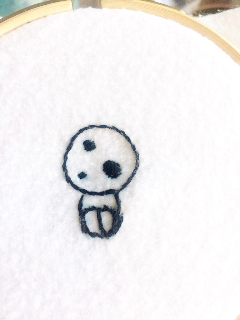 こだまの刺繍ワッペンアウトラインステッチ完成