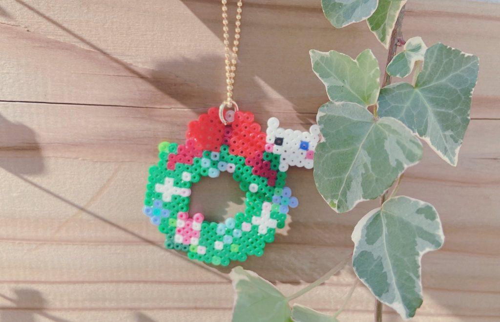 小さなクリスマスリースアイロンビーズ完成品2