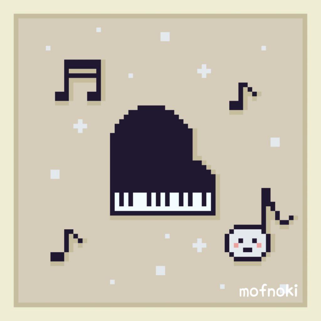 ピアノとおんぷちゃんドット絵