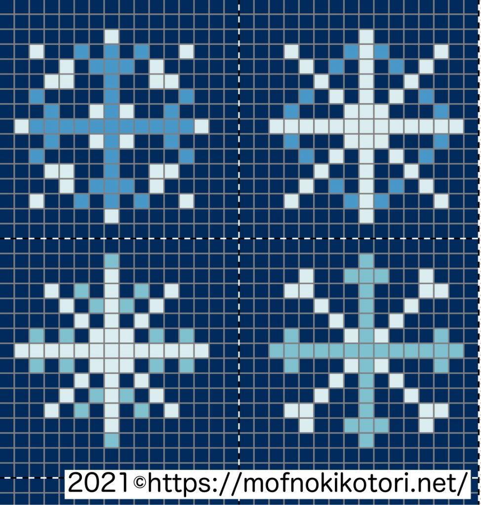 雪の結晶ドット絵図案