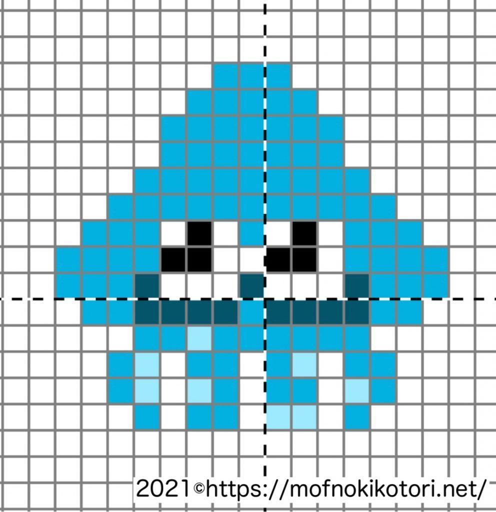 スプラトゥーン小さいイカアイロンビーズドット絵図案